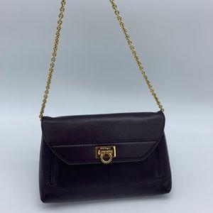 Salvatore Ferragamo purple leather clutch on chain